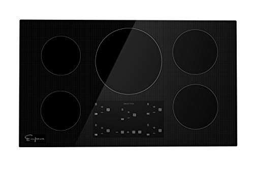 """Empava 36"""" Electric Stove Induction Cooktop with 5 Power Boost Burners Smooth Surface Vitro Ceramic Glass in Black, 36 Inch"""