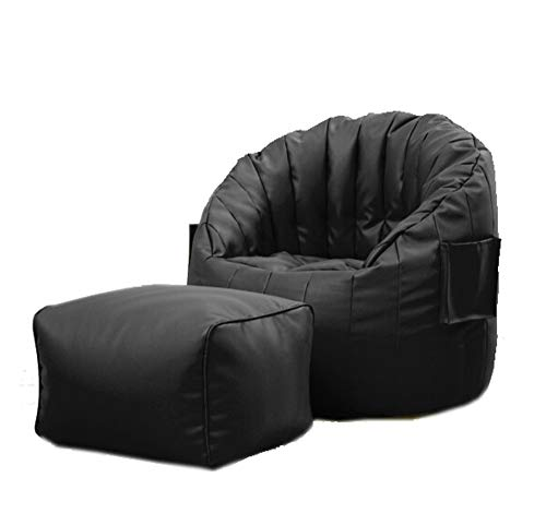 ZYLE Leather Lazy Couch Tatami Bean Bag Bedroom Balcony Nap Comfortable Small Sofa Computer Lounge Chair with Footrest 80×80cm (Color : Black)