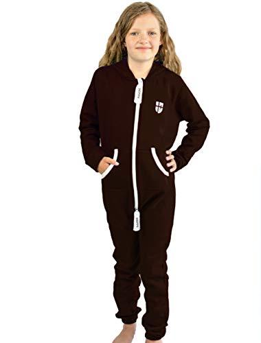 Gennadi Hoppe Kinder Jumpsuit Overall Jogger Trainingsanzug Mädchen Anzug Jungen Onesie,braun,12-13 Jahre