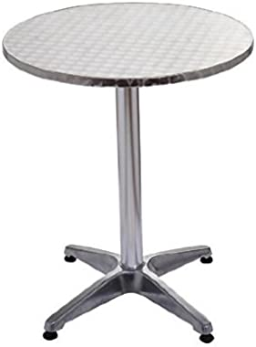 "HOMCOM 24"" Round Adjustable Stainless Steel Top Aluminum Standing Bistro Bar Table (43.25 INCHES Height"