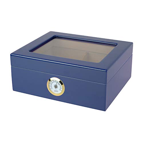 Quality Importers Desktop Humidor, Capri, with Tempered Glasstop, Cedar Divider, and Brass Ring Glass Hygrometer, Holds…