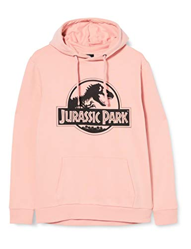 Jurassic Park Logo Hoodie Sudadera con Capucha, Dusty Pink, X-Large para Mujer
