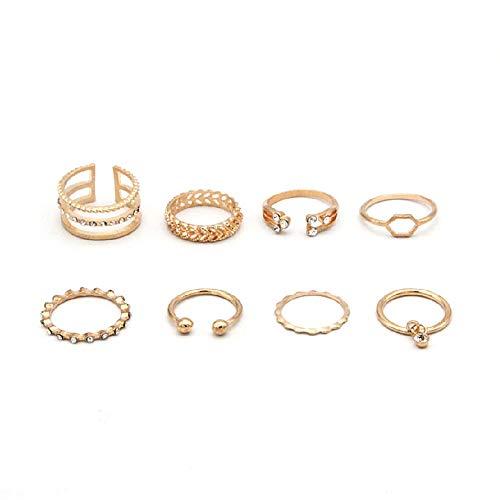 MTRSUE 8 unids anillos para el dedo del pie de la playa de verano abierto ajustable anillo conjunto hawaiano onda flecha Kont dedo pie joyería regalo