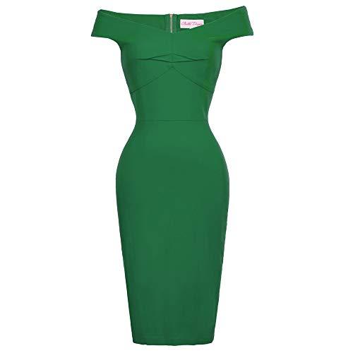 Belle Poque Etuikleider Damen Pencil Kleid Knielang Sommerkleid grün Bodycon kleidFestliche Kleider BP387-2 S