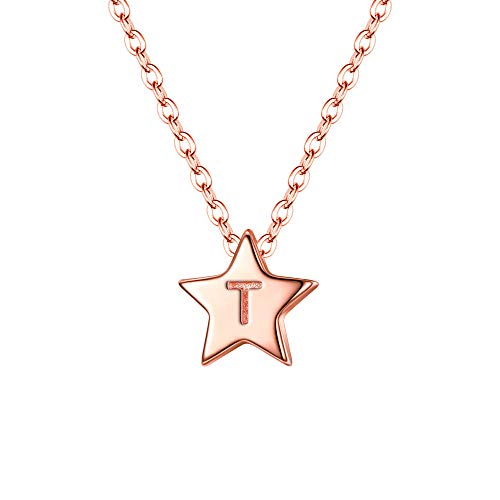 Clearine 925 Sterling Silver Tiny Dainty Pendant Star Letter T Initial Necklace 14K Rose Gold Toned Statement Jewellery Gift for Women Girl