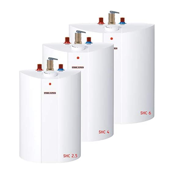 Stiebel Eltron 233219 2.5 gallon, 1300W, 120V SHC 2.5 Mini-Tank Electric Water Heater 5 Plugs into standard 120 volt outlet T and P valve included Wall-mounted with included bracket