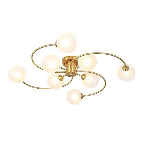 FGART Lámpara de techo industrial moderna semi-empotrada, G9 de cobre de lujo para sala de estar, lámpara colgante de dormitorio, cubierta blanca leche, 85 x 15 cm