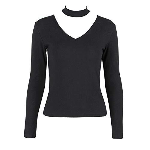 NOBRAND New V-Neck Long Sleeve Knitted T-Shirt Top Women Slim Elastic Bottoming Gr. Small, Schwarz