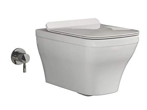 Aqua Bagno | Dusch-WC | WC mit Bidet-Funktion | Taharet-WC | Ohne Spülrand | Manuelle Bedienung | Inkl. Softclose WC-Sitz