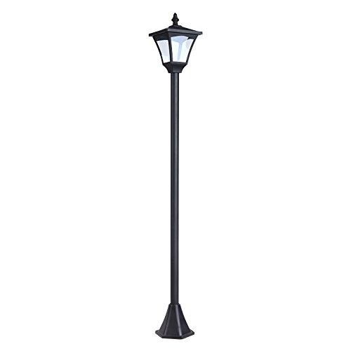 Outsunny Lampada da Giardino Lampada da Terra Lampione LED da Esterno Energia Solare Impermeabile IP44 15×15×120cm Nero