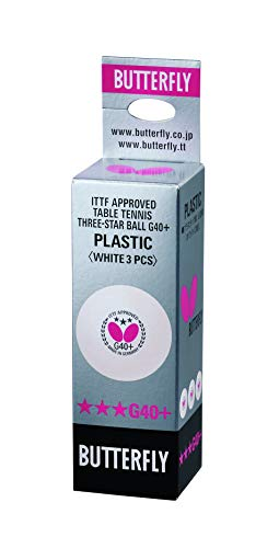 Butterfly Unisex 3Super (3Stück) G40+ 3Star Tischtennis New Kunststoff ITTF zugelassen Ball, Weiß, Standard Größe