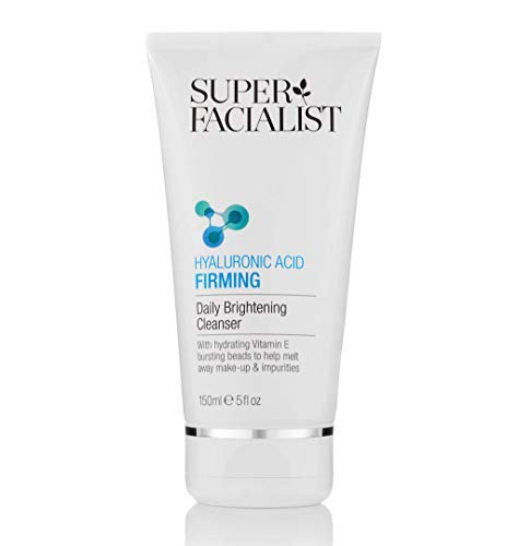 Super Facialist Hyaluronic Acid Firming Daily Brightening Face AntiWrinkle + AntiAgeing Cleansing Wash Increases Skins Firmness Elasticity. Melts away makeup daily impurities, Cleanser, 150 millilitre