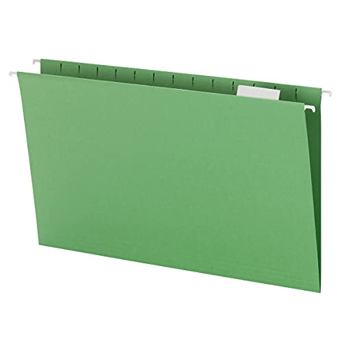 Smead Hanging File Folder with Tab, 1/5-Cut Adjustable Tab, Legal Size, Green, 25 per Box (64161)