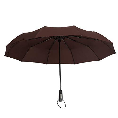 SDENSHI Regenschirm Auf-Zu-Automatik Partnerschirm stabil groß 104cm sturmsicher Taschenschirm Kompaktschirm für Erwachsene Kinder - Kaffee
