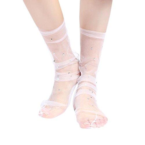 Damen Netzstrumpfhose ,OverDose Frauen Mode Glitter Star Soft Mesh Socke Transparente Elastische Sheer Knöchelsocke kurze Netzsocken (B-Pink)