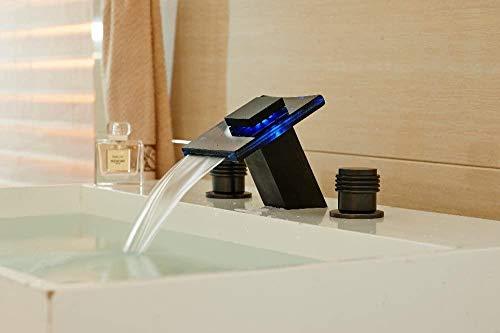 Grifo de Cocina, Baño de cascada LED grifo de superficie de cobre frotado con aceite de 3 orificios