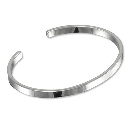 TreasureBay Men's Solid 925 Sterling Silver Bangle, Plain Silver Cuff Bracelet