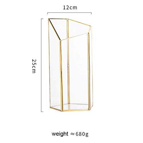 JFHGNJ Retro-Stil goldene Glasvase Kupferstreifen geometrische Vase Trockene Dekoration Handwerk Glas Terrarium Hochzeit Home Dekoration-B 1 Stck