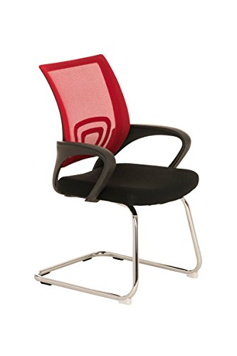 Sedia poltrona ufficio a slitta CP220 acciaio tessuto 61x58x89cm ~ rosso