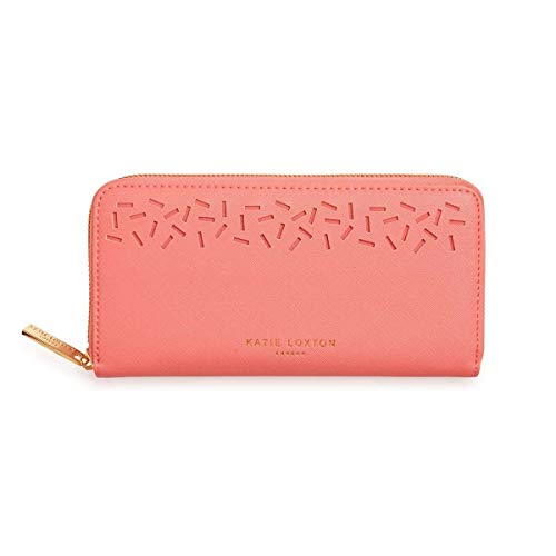 Katie Loxton Laser Cut Confetti Womens Vegan Leather Full Zip Wallet Purse Coral