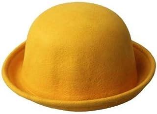 DIEBELLAU Men and Women's New Woolen Dome Hats Casual Jazz Cap Caps Derby Hats Wedding Hat (Color : Yellow, Size : 56-58cm)