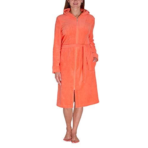 Aquarti Damen Bademantel mit Reißverschluss Lang, Farbe: Orange, Größe: S
