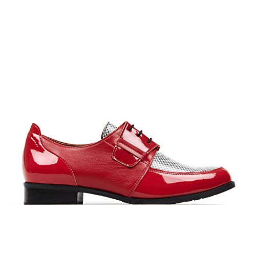 Zapato Embassy Madness, zapatos de cuero italiano para mujer, estilo Derby, con cordones, casual, con suela de contraste. Cómodo y de moda para uso diario. Diseño único, color Rojo, talla 40 EU