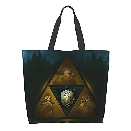 Dibujos animados leyenda de Zelda juego señoras gran capacidad bolsa de hombro compras escuela trabajo bolsa bolsa bolsa de almacenamiento de comestibles bolsa de tableta