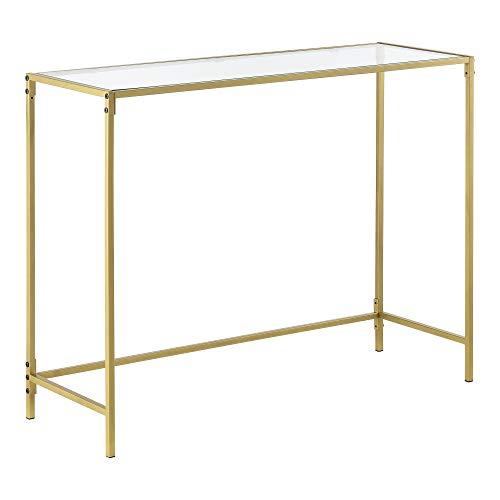 [en.casa] Tavolo Consolle da Ingresso/Soggiorno 100 x 35 x 80 cm Mobile di Appoggio con Telaio in Accaio Color Oro e Piano in Vetro