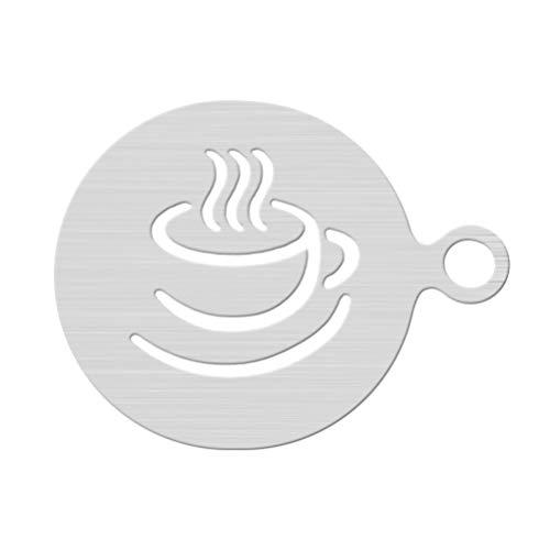DOITOOL 1 x Kaffeeschablone aus Edelstahl, für Kaffee und Dekoration, Barista, Latte, Cappuccino, Vorlage für Cupcakes, Kekse (Kaffeetassen-Muster).