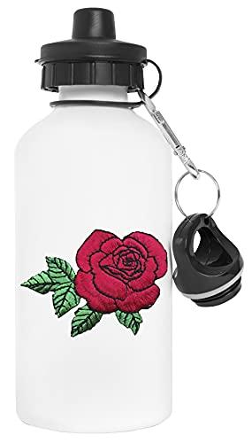 Rosa Florecer Botella de Agua Blanco Aluminio Reutilizable Water Bottle White Aluminium Reusable