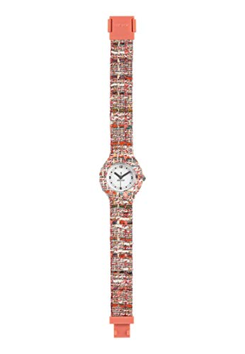 Orologio HIP HOP donna TWEED quadrante bianco e cinturino in silicone, tessuto arancione, movimento SOLO TEMPO - 3H QUARZO