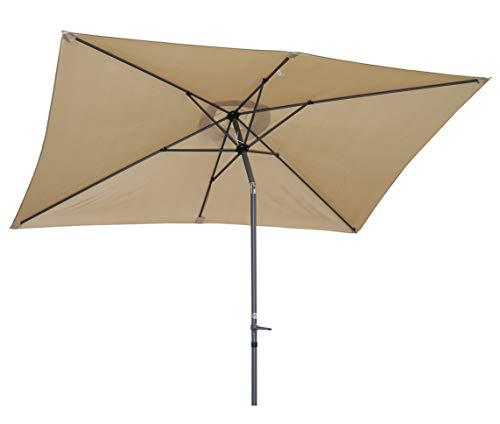 Angel Living 300x200cm Sonnenschirm aus Aluminium mit Kurbel und Neigung für Gartenterrasse,mit UV-Schutz 40+ Beige