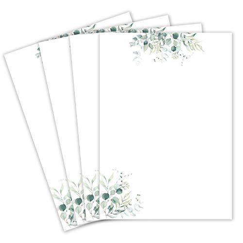 25 Briefbogen DIN A4 - Naturpapier in Creme mit Eukalyptus-Zweigen - 120 g/m² - 21,0 x 29,7 cm Briefpapier bedruckbar zum selbst Beschreiben ideal für Einladungen zu Hochzeit und Geburtstag