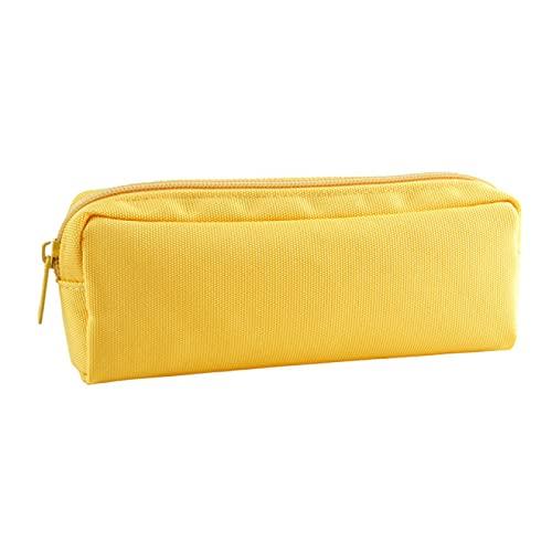 CNYG Estuche para lápices, clásico estilo nórdico, plegable, bolsa de almacenamiento para cosméticos, viajes, escuela, oficina, amarillo, 18,5 x 4 x 7,5 cm