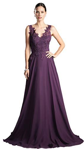 [アールズガウン]演奏会 ドレス ロングドレス 演奏会用ドレス 大きいサイズ インポート フォーマル 刺繍 赤 紫 ピンク FD-230037 (LL, エッグプラント)