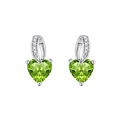 SLV Pendientes de tuerca con forma de corazón de 1,64 quilates y diamantes VVS1 de 3 puntas chapados en oro blanco de 14 quilates