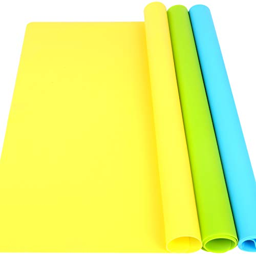 "LEOBRO 3 Pack A3 Large Silicone Mats for Crafts, 15.7"" x 11.7""Silicone Craft Mat for Resin Casting Mold, Nonstick Nonslip Silicone Sheet, Heat-Resistant Mat, Blue, Yellow, Green"