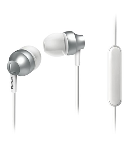 Philips SHE3855SL/00 In-Ear-Kopfhörer mit Mikrofon (hochwertiges Design, verstärkte Kabel, satte Bässe) Silber