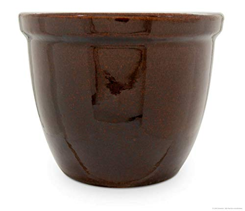 Jardinière pot de fleurs/fleurs/venus iI 50 x 40 cm, couleur : marron brillant, en grès (céramique de grès de qualité)