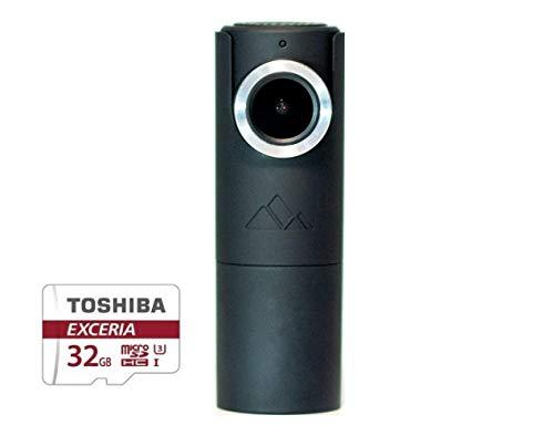 GOLUK T3 Charcoal Black Mini Wi-Fi Dash Cam Compact Full HD 1080P Car DVR Vehicle Camera with Built-in Supercapacitor, G-Sensor, Snapshot Button, Night Vision, Loop Recording, Parking Monitor 32G