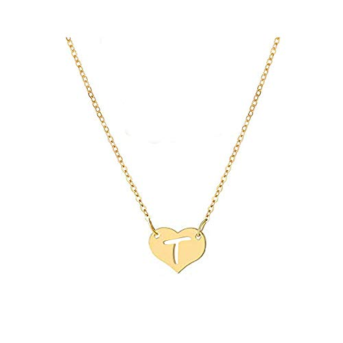 WLLAY Tiny Gold Heart Initial Necklace Dainty Personalized Letter Necklace Name Jewelry for Women (Gold T)