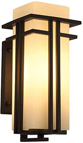 Lampada da parete da parete da esterno vintage Lampada da parete Lampada esterna Glassato Vetro Square Parete da giardino impermeabile IP55 Tradizionale E27 (Dimensioni: L)