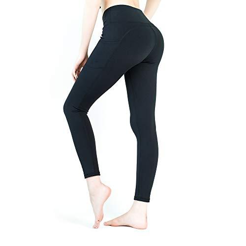 Yveser Sporthose Damen Yogahose Laufhose Fitnesshose Yoga Sport Leggings tights für Damen mit Taschen Yoga1 (Schwarz, S)