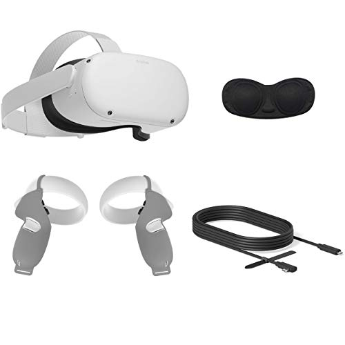 2020 Oculus Quest 2 All-in-One VR Headset, 64GB SSD, Glasses Compitble, 3D Audio, Mytrix Link Cable (10 Ft), Grip Cover, Lens Cover