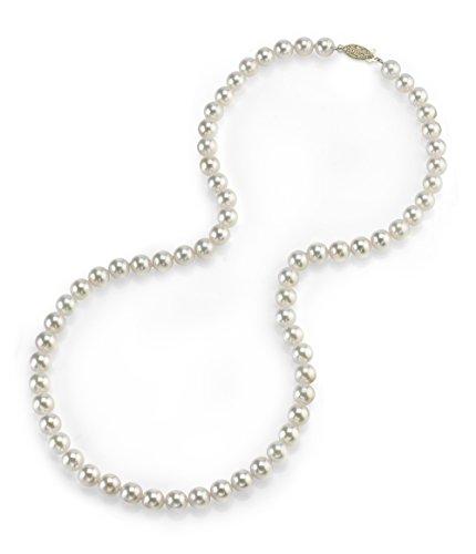 14 k Gold 5, 5-6,0 mm perle giapponesi Akoya AAA qualità-Collana girocollo da donna, lunghezza 41 cm e Oro giallo, colore: oro/bianco, cod. 1