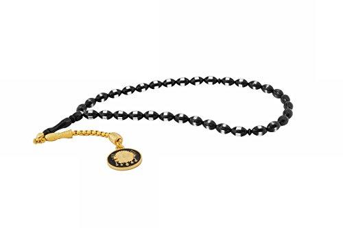 Gök-Türk Gebetskette - Tesbih 33 Perlen Tasbih 'Osmanisches Reich' Osmanisches Wappen Türkisch schwarz gold
