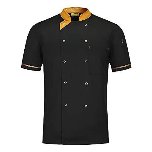 WMOFC Kochjacke,Chef Uniform, Herren Damen Kurzarm Baumwolle Küchen Koch Jacke, Kostüm Restaurant Hotel Cafe Chef Mantel,Schwarz,XL