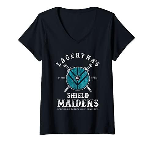 Mujer Lagertha's Shield Maidens - Doncella del Escudo Vikingo Camiseta Cuello V