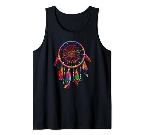 Colorido Atrapasueños Plumas Tribal Nativo Americano Indio Camiseta sin Mangas